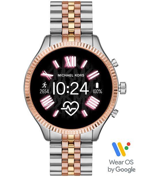 Michael Kors Access Lexington 2 Tri-Tone Stainless Steel Bracelet Touchscreen Smart Watch 44mm, Powered by Wear OS by Google™