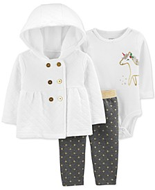 Baby Girls 3-Pc. Quilted Hoodie, Unicorn-Graphic Bodysuit & Dot-Print Pants Set