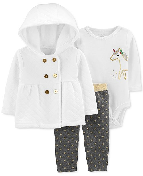 Carter's Baby Girls 3-Pc. Quilted Hoodie, Unicorn-Graphic Bodysuit & Dot-Print Pants Set