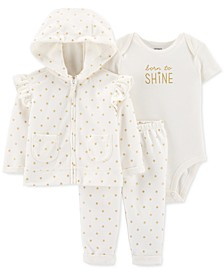 Baby Girls 3-Pc. Dot-Print Fleece Hoodie, Shine Bodysuit & Pants Set