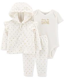 Baby Girls 3-Pc. Dot-Print Fleece Hoodie, Shine Bodysuit & Pants Set