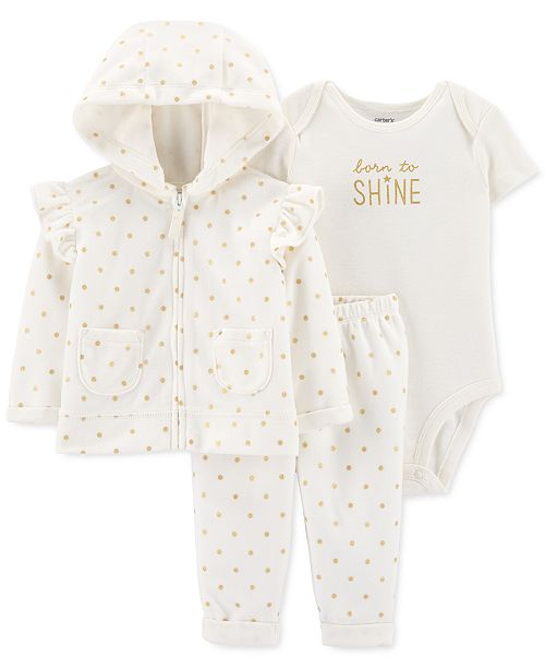 Carter's Baby Girls 3-Pc. Dot-Print Fleece Hoodie, Shine Bodysuit & Pants Set