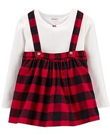 Toddler Girls 2-Pc. Cotton T-Shirt & Buffalo-Check Jumper Set