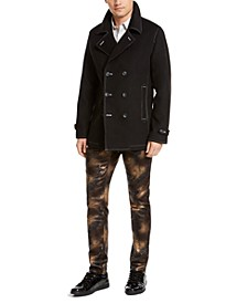 I.N.C. Men's Contrast Top Stitch Pea Coat, Created For Macy's