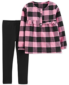 Toddler Girls 2-Pc. Plaid Top & Leggings Set