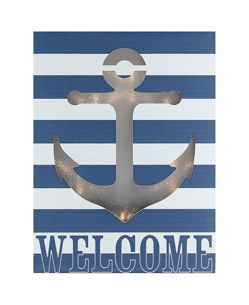 """Northlight Prelit LED and Striped Welcome Anchor Cut Out Wall Art, 9.75"""" x 7.5"""""""