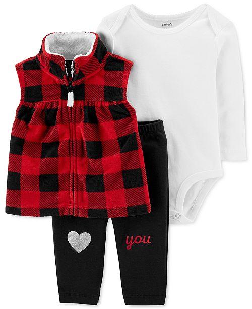 Carter's Baby Girls 3-Pc. Buffalo-Check Fleece Vest, Bodysuit & Pants Set