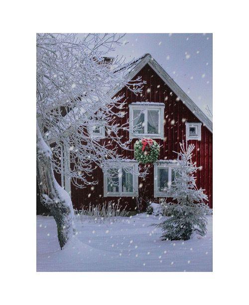 """Northlight LED Fiber Optic Lighted Snowy Barn House Christmas Wall Art, 15.75"""" x 12"""""""