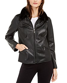 Faux-Leather Faux-Fur-Collar Jacket, Created For Macy's