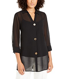 Chiffon Three-Button Tunic, Created for Macy's
