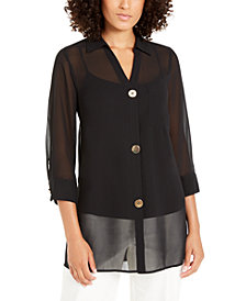 Alfani Chiffon Three-Button Tunic, Created for Macy's