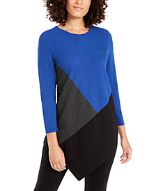 Alfani Petite Colorblocked Asymmetrical Tunic, Created For Macy's