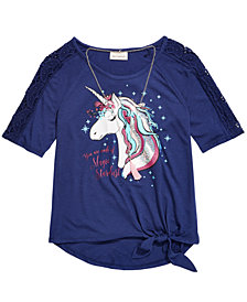 Belle Du Jour Big Girls Crochet Unicorn T-Shirt & Necklace