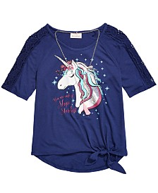Belle Du Jour Little Girls Crochet Unicorn T-Shirt & Necklace
