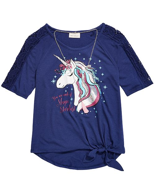 Belle Du Jour Big Girls Crochet Unicorn T-Shirt & Necklace