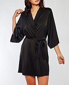 Dressy Satin Spandex Robe with Lace Cut Out Back Panel