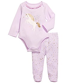 Baby Girls 2-Pc. Cotton Unicorn Bodysuit & Footed Pants Set, Created for Macy's