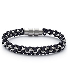 Men's Black & Silvertone Wrap Bracelet