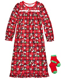 Big & Little Girls 2-Pc. Minnie Mouse Nightgown & Matching Socks Set