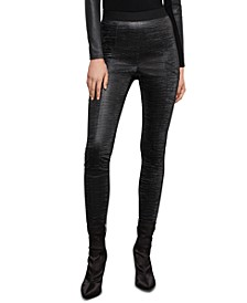 Embossed Faux-Leather Pants