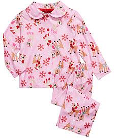 AME Toddler Girls 2-Pc. Rudolph Pajamas Set
