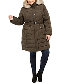 Plus Size Faux-Fur-Trim Hooded Down Puffer Coat, Created for Macy's