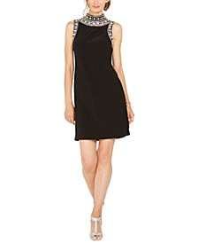 Imitation Pearl-Embellished Mock-Neck Dress