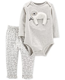 Baby Boys & Girls 2-Pc. Sloth Bodysuit & Animal-Print Pants Set