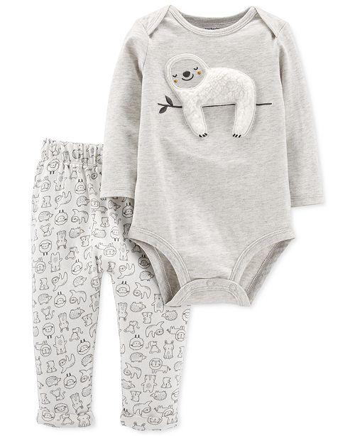 Carter's Baby Boys & Girls 2-Pc. Sloth Bodysuit & Animal-Print Pants Set