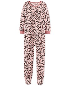 Little & Big Girls 1-Pc. Leopard-Print Fleece Footie Pajamas