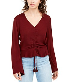 Juniors' Ruched-Front Top