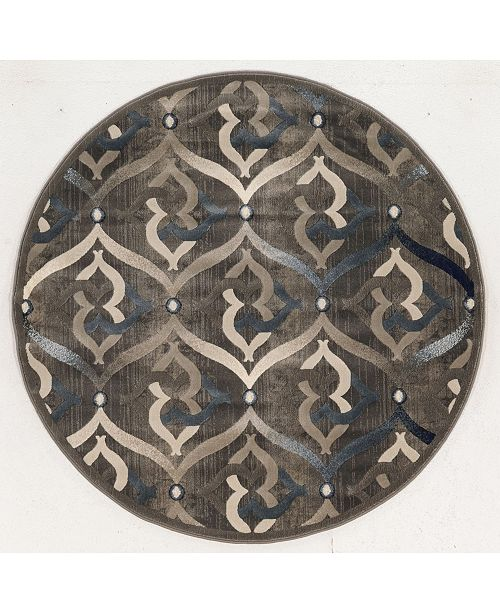 """KM Home CLOSEOUT! 3796/1015/BROWN Imperia Brown 7'10"""" x 7'10"""" Round Area Rug"""