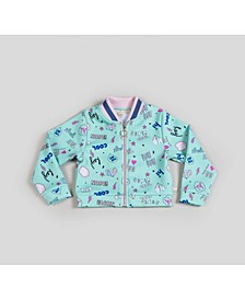 Girl's Scuba Printed Bomber Jacket