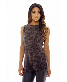 Women's Sleeveless Crinkle Pleated Top