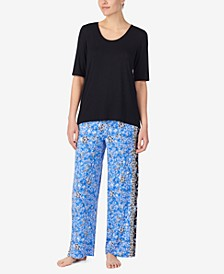 Solid Top and Boho Floral Pant Pajama Set, Online Only