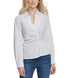 Cotton Striped Ruched-Front Top