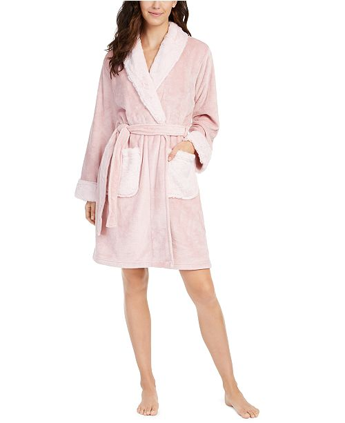 Charter Club Faux-Fur-Trim Short Wrap Robe, Created for Macy's