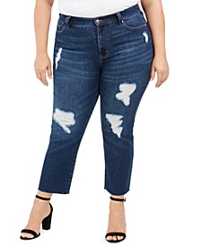 Trendy Plus Size Ripped Girlfriend Jeans