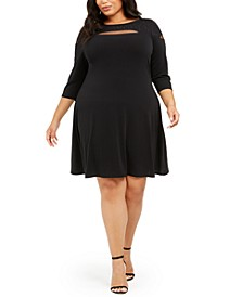 Plus Size Mesh-Trim Dress