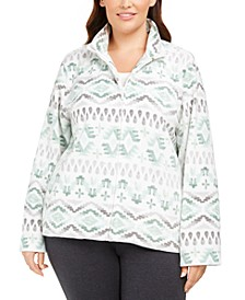 Plus Size Lake Geneva Geo-Print Fleece Jacket
