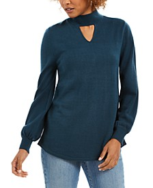 Mock-Neck Keyhole Sweater, Created For Macy's