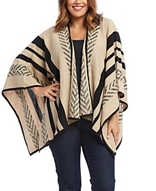 Plus Size Striped Poncho Sweater