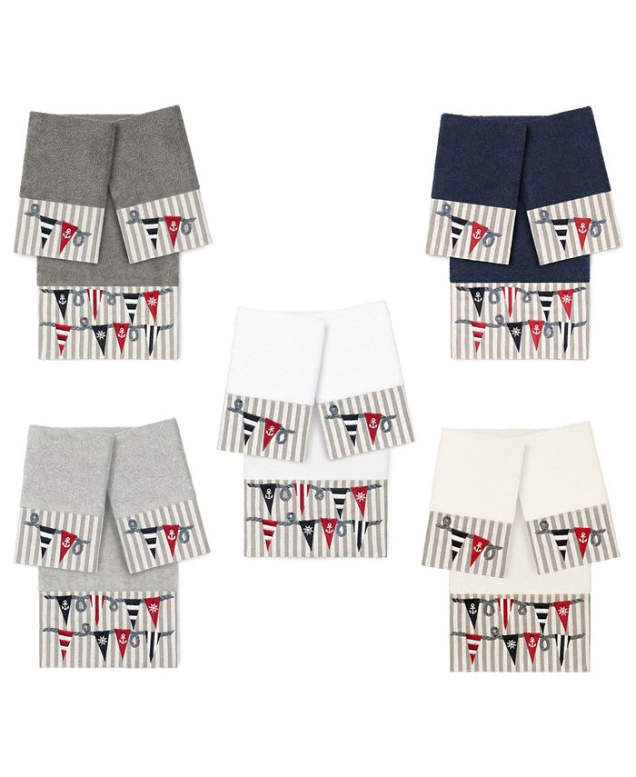 Linum Home - 100% Turkish Cotton Ethan 3-Pc. Embellished Towel Set