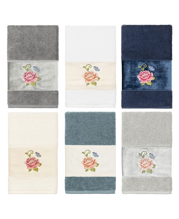 Linum Home 100% Turkish Cotton Rebecca Embellished Hand Towel