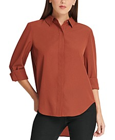 Cuffed-Sleeve Hidden-Placket Blouse