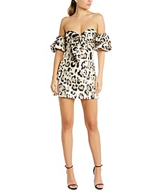 Animal-Print Off-The-Shoulder Dress