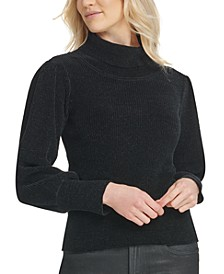 Turtleneck Bousant-Sleeve Sweater