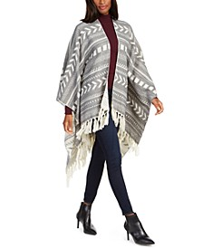 Tribal Print Ruana with Fringe