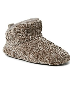 Women's Cable Knit Chenille Bootie Slippers, Online Only