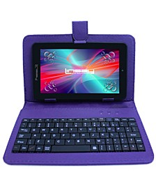 "7"" New Quad Core Tablet Bundle with Purple Keyboard Android 6.0 Dual Camera"